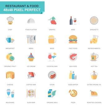 Conjunto simples restaurante e comida plana ícones