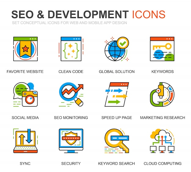 Conjunto simples seo e ícones de linha de desenvolvimento para o site