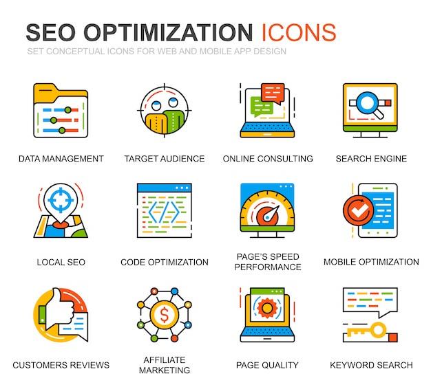 Conjunto simples seo e web ícones de linha de otimização para o site
