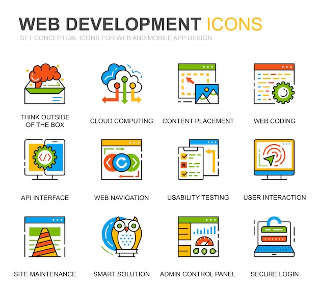 Conjunto simples web design e linha de desenvolvimento de ícones para o site