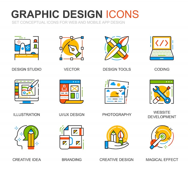 Conjunto simples web e ícones de linha de design gráfico para o site