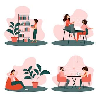 Conjunto situações vida escritório pessoas trabalhando