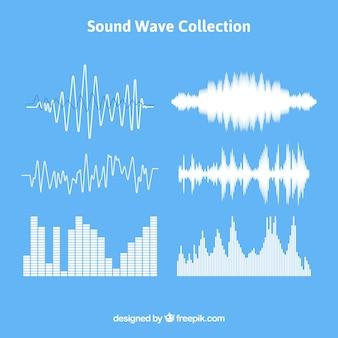 Conjunto, som, ondas, diferente, desenhos