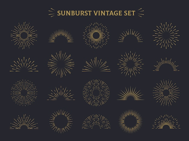 Conjunto sunburst. conjunto vintage retro decorativo de raio de sol desenhado à mão