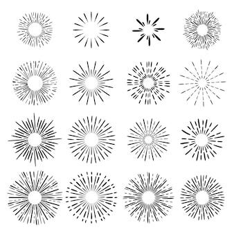 Conjunto sunburst desenhado à mão