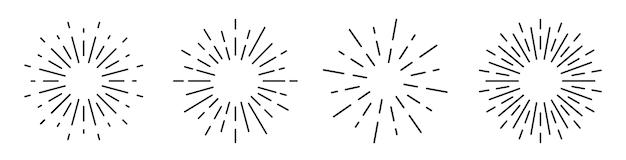 Conjunto sunburst isolado no fundo branco. reluzente.