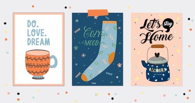 Conjunto super fofo de cartazes e cartões de higiene. elementos de higiene de outono e inverno de ilustração bonito. . tipografia motivacional de citações de hygge. estilo escandinavo