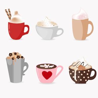 Conjunto super fofo de xícaras de café, com diferentes tipos de bebidas