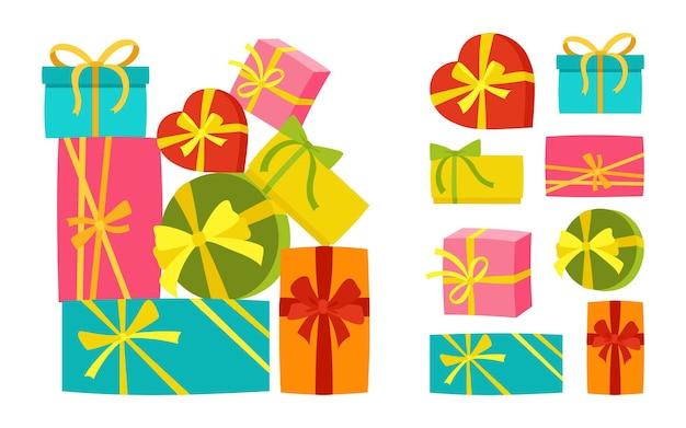 Conjunto surpresa para festa de aniversário com pilha de caixa de presente