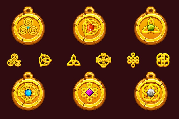 Conjunto talismãs com símbolos celtas. desenhos animados conjunto de ícones celtas.