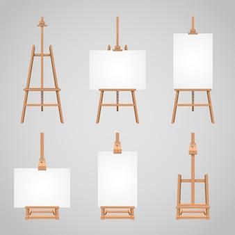 Conjunto, telas, ficar, ligado, madeira, cavaletes, madeira, em branco, levantar, para, desenho
