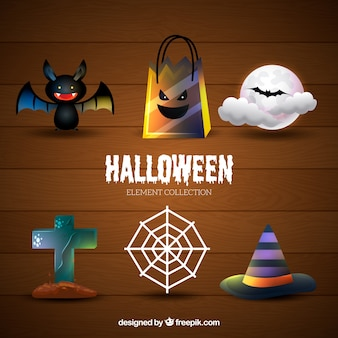 Conjunto temático de coisas de halloween