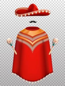 Conjunto tradicional de roupas tradicionais mexicanas com poncho sombrero e maracas isoladas em transparente