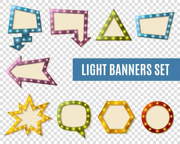 Conjunto transparente de banners de luz