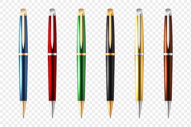 Conjunto transparente de caneta de negócios