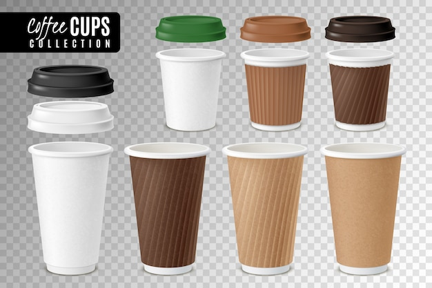 Conjunto transparente de copos descartáveis de café realista