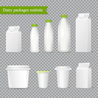 Conjunto transparente de embalagens de laticínios realista