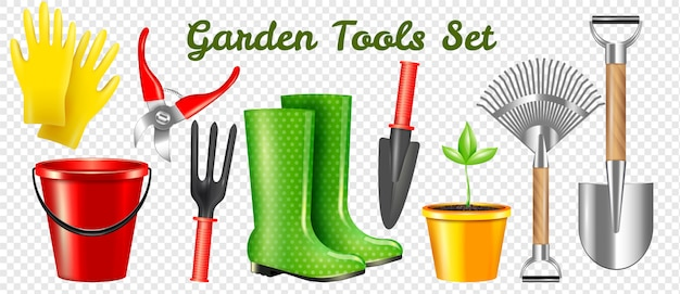 Conjunto transparente de ferramentas de jardim realista