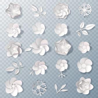 Conjunto transparente de flores de papel realista