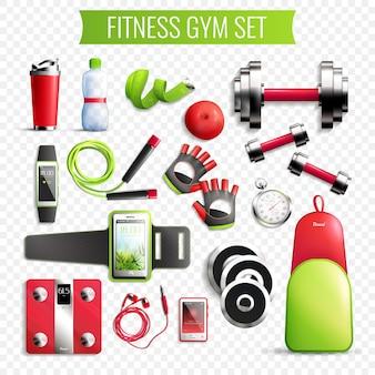 Conjunto transparente de ginásio de fitness