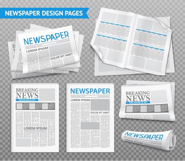 Conjunto transparente de jornal realista
