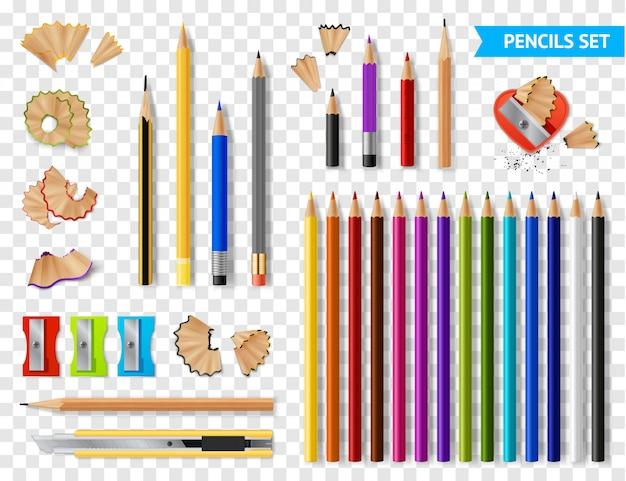 Conjunto transparente de lápis apontados multicoloridos