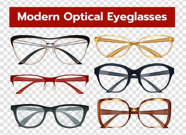 Conjunto transparente de óculos