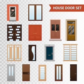 Conjunto transparente de portas de casa