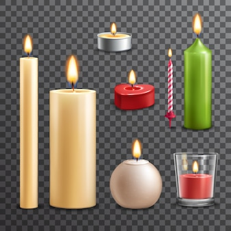 Conjunto transparente de velas