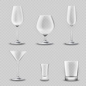 Conjunto transparente de vidro