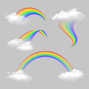 Conjunto transparente realista de arco-íris em forma diferente isolado