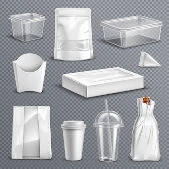 Conjunto transparente realista de embalagens de alimentos