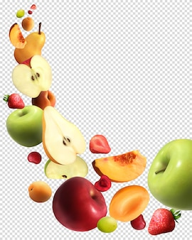 Conjunto transparente realista de frutas caindo