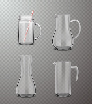 Conjunto transparente realista de jarros de vidro