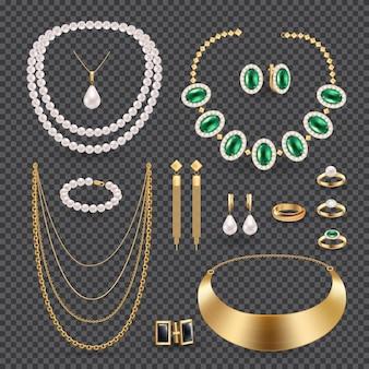 Conjunto transparente realista de jóias acessórios com anéis colar e brincos