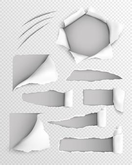 Conjunto transparente realista de papel rasgado