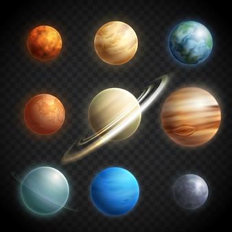 Conjunto transparente realista de planetas