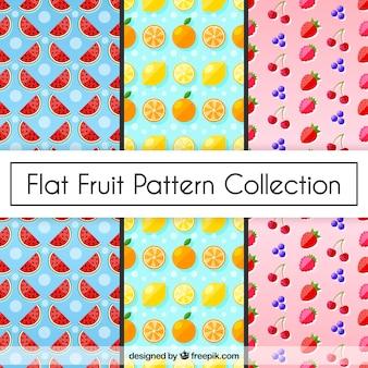 Conjunto, três, fruta, padrões, apartamento, desenho