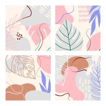 Conjunto tropical abstrato com formas geométricas, folhas de palmeira em tons pastel. colagem moderna em azul, rosa, marrom para pôsteres. ilustração vetorial em design abstrato de estilo moderno, folha monstera