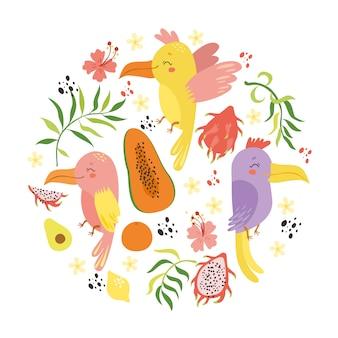 Conjunto tropical com papagaios e frutas