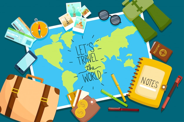 Conjunto turístico viaje ao redor do mundo.