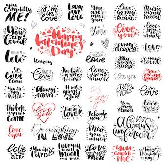 Conjunto único grande de amor mão lettering para dia dos namorados