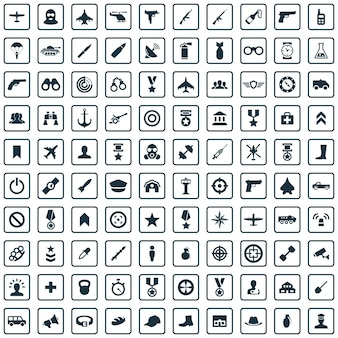 Conjunto universal de 100 ícones do exército