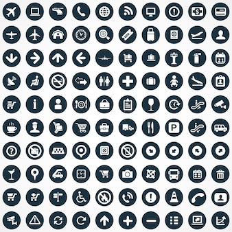Conjunto universal grande de 100 ícones de aeroporto
