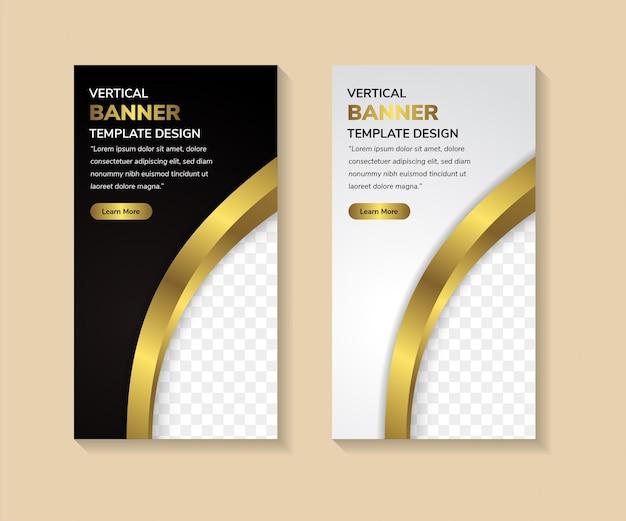 Conjunto vertical de banner de vetor moderno abstrato fundo gradiente preto e cinza com espaço para foto gradiente de elemento dourado como borda
