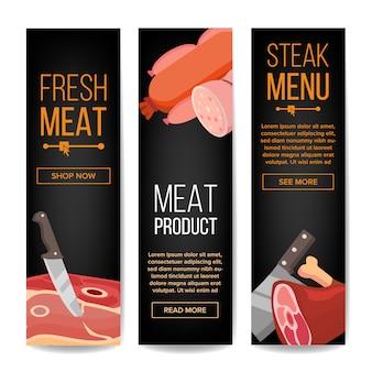 Conjunto vertical de banner promocional de produtos de carne