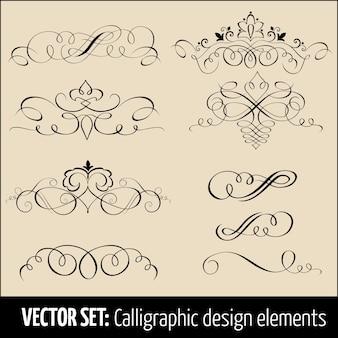 Conjunto vetorial de elementos de design de decoração de caligrafia e página. elementos elegantes para o seu design.