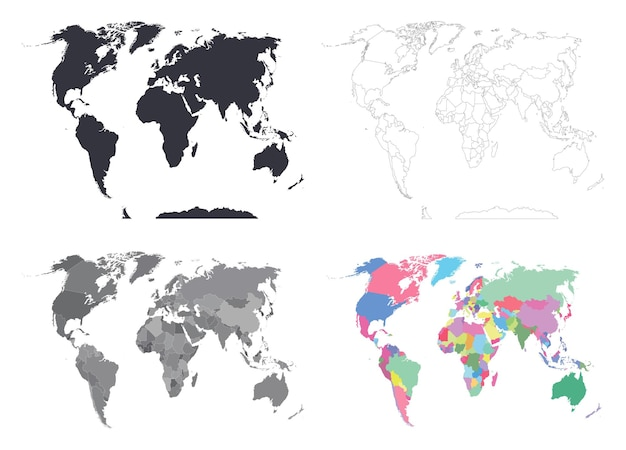 Conjunto vetorial de mapas mundiais