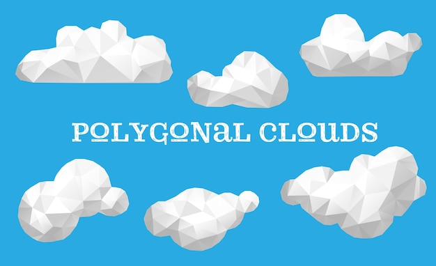 Conjunto vetorial de nuvens poligonais
