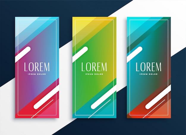 Conjunto vibrante de banners verticais definido em estilo geométrico